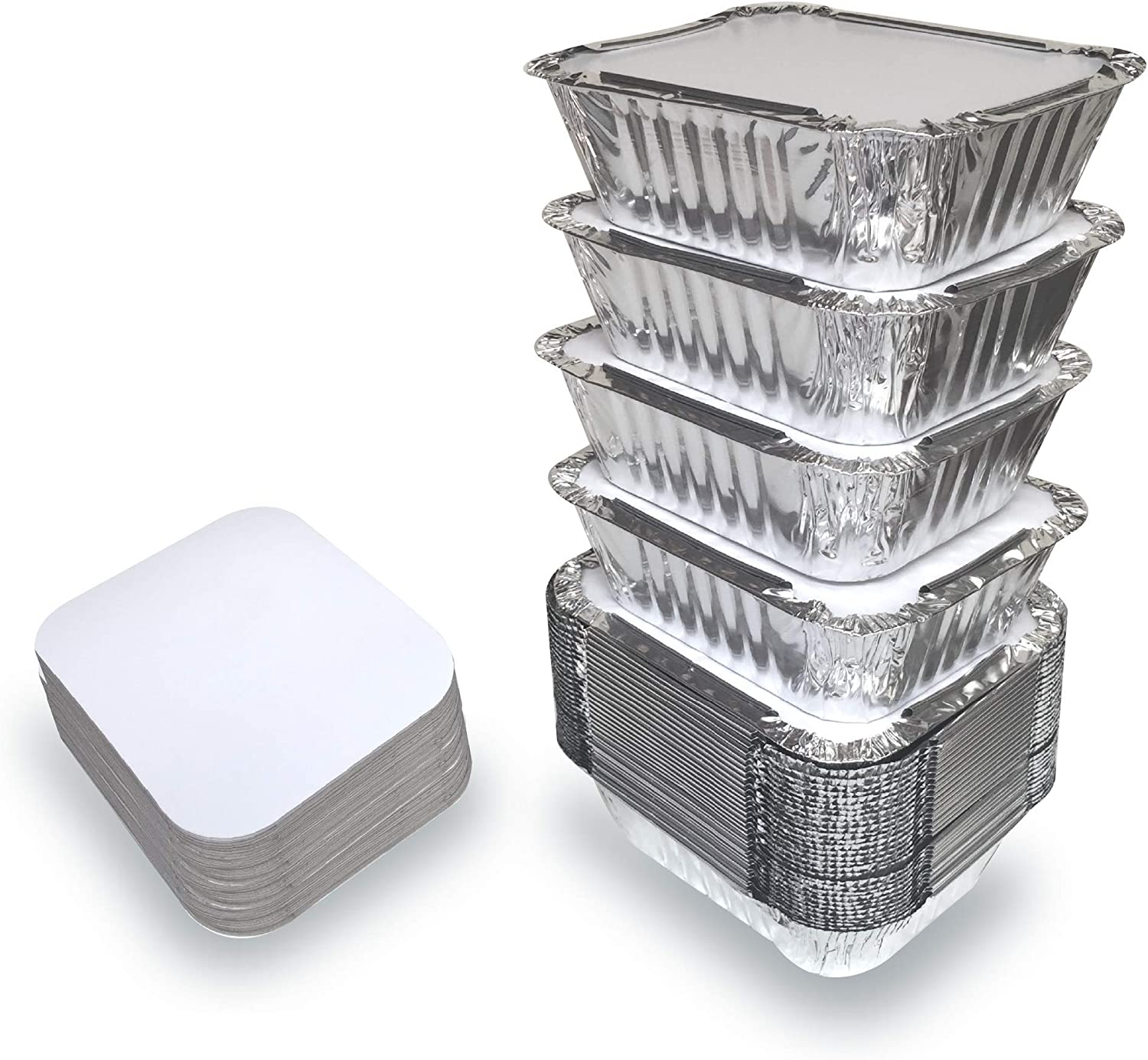 Amazon Com 55 Pack 1lb Aluminum Foil Pan Containers With Lids Take Out Pans Food Containers Disposable Easy Pack From Spare 1lb Capacity 5 5 X 4 5 X 1 9 Small Size