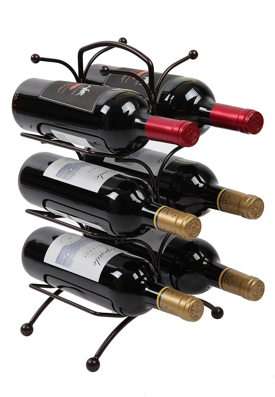 Finnhomy 6 Bottle Wine Rack with Handle Bar, Wine Bottle Holder Free Standing Wine Storage Rack Iron, Brozen F21RKN6R1009