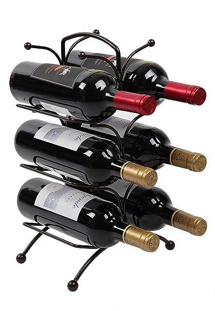 standing wine rack. Finnhomy 6 Bottle Wine Rack With Handle Bar, Holder Free Standing Storage