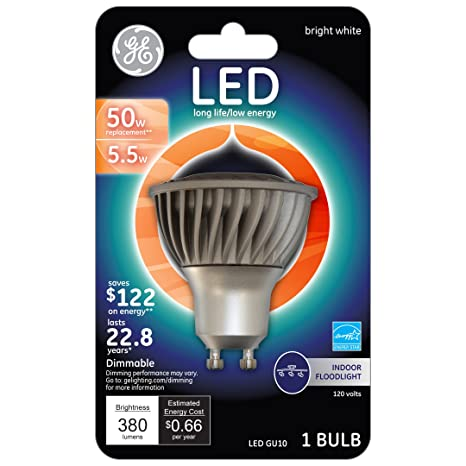 GE Lighting 71240 Energy Smart LED 4.5-watt 350-Lumen Dimmable Floodlight Bulb with GU10 Base, Bright White, 1-Pack - - Amazon.com