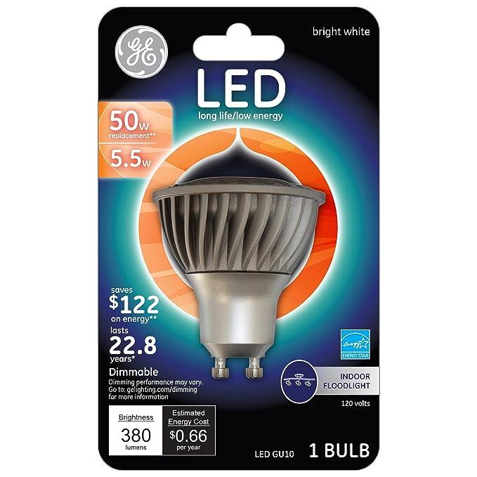 GE Lighting 71240 Energy Smart LED 4.5-watt 350-Lumen Dimmable Floodlight Bulb with GU10 Base, Bright White, 1-Pack - - Amazon.com