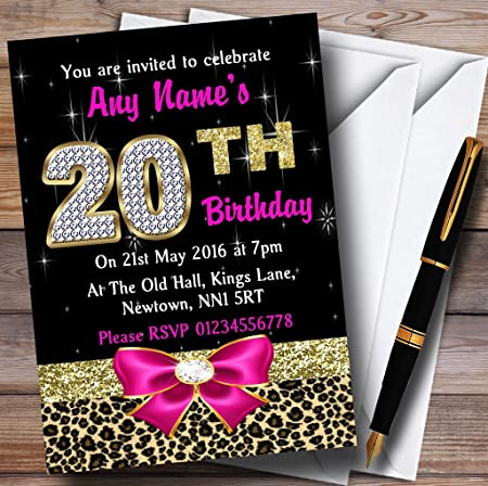 Pink Diamond And Leopard Print 20Th Birthday Party Personalised Invitations Invites Envelopes Amazoncouk Kitchen Home