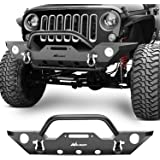 Nilight Front Bumper Compatible for 07-18 Jeep Wrangler JK Rock Crawler Off Roadwith With Fog Lights Hole, Winch Plate & 2 x