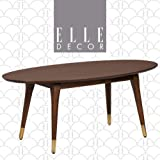 Elle Decor Clemintine Mid-Century Modern Living Room Furniture Collection, Oval Coffee Table, Walnut