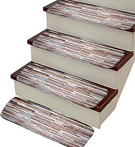 VOCOOL Stone Carpet Stair Treads, Anti-Skid Pet Dog Stairs Rug, Non-Slip Floor Step Mats, Seamless Adhesive Pad 27.5x8.6 inch (Pack of 13)