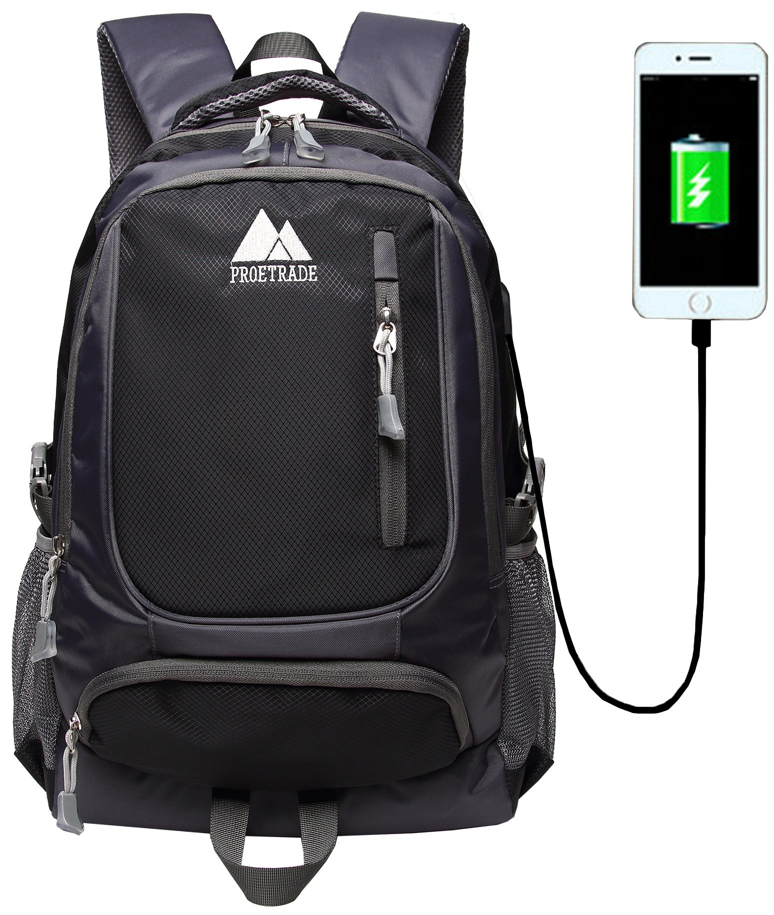 School Backpack Bookbag With USB Charging Port For College Travel Hiking Fit Laptop Up to 15.6 Inch Water Resistant (Black)