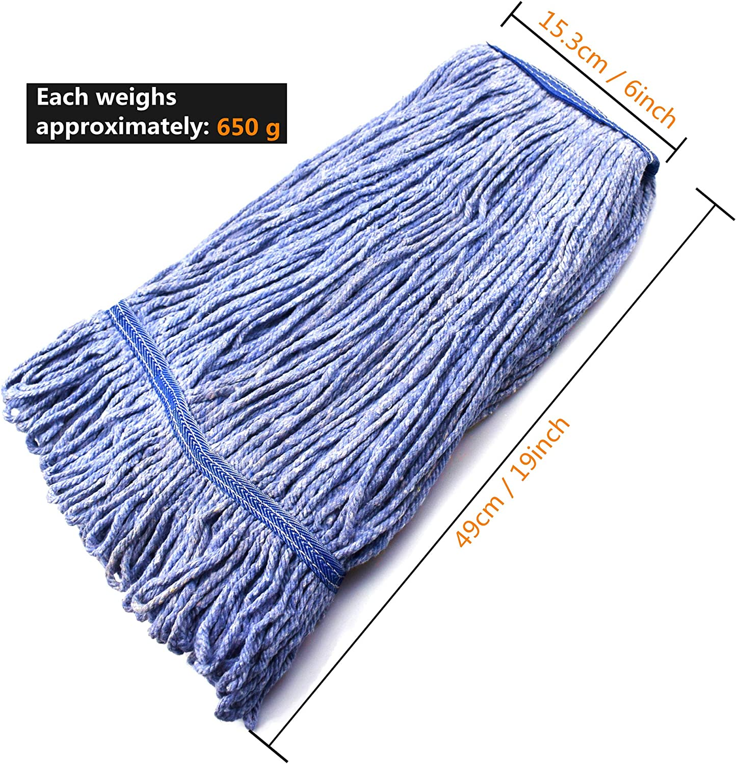 2, Large String Mop Heads Replacement Heavy Duty Commercial Grade Blue Cotton Looped End Wet Industrial Cleaning Mop Head Refills