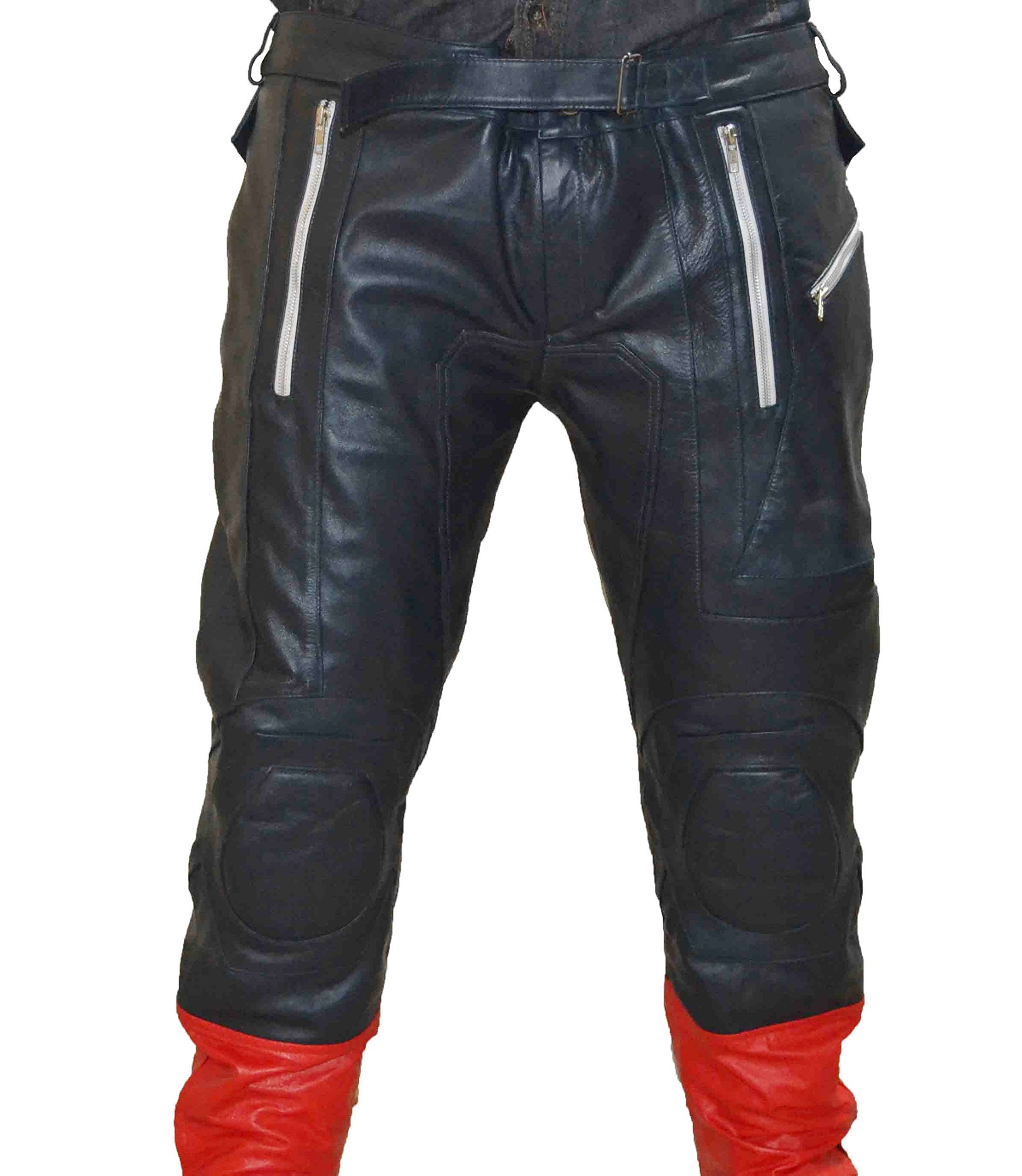 MSHC Captain America Avengers Cow Hide Leather Pants (3XL) CA1 PS Blue Red