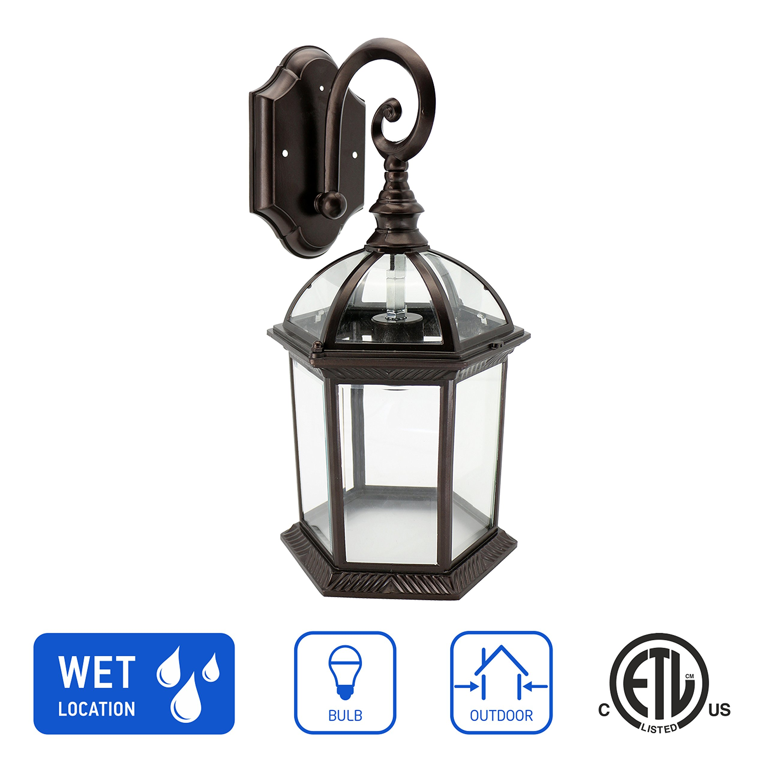 IN HOME 1-Light Outdoor Wall Mount Lantern Downward Fixture L07 Series Traditional Design Bronze Finish, Clear Glass Shade, ETL Listed