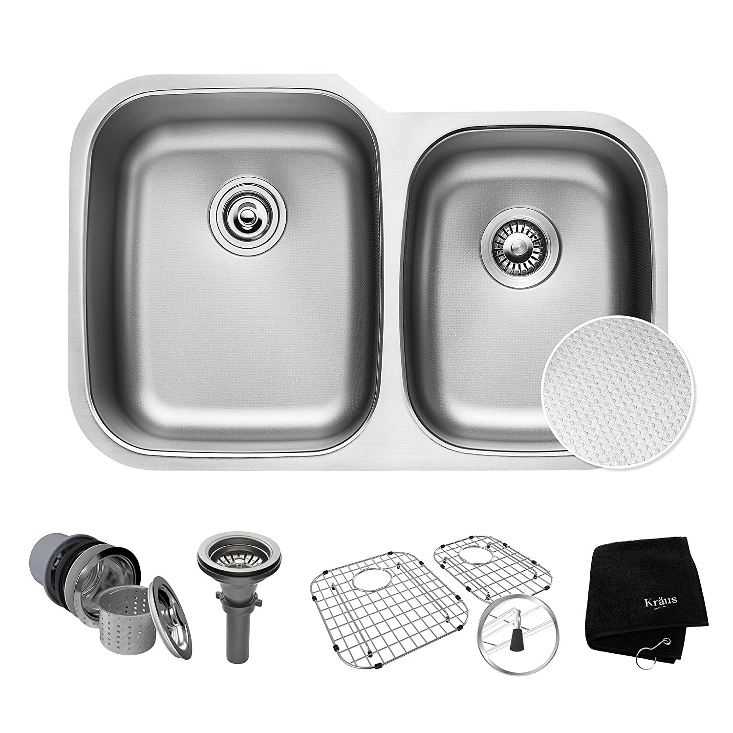 "KRAUS Outlast MicroShield Scratch-Resist Stainless Steel Undermount 60/40 Double Bowl Sink, 32"" 16 Gauge, Premier Series KBU24E"
