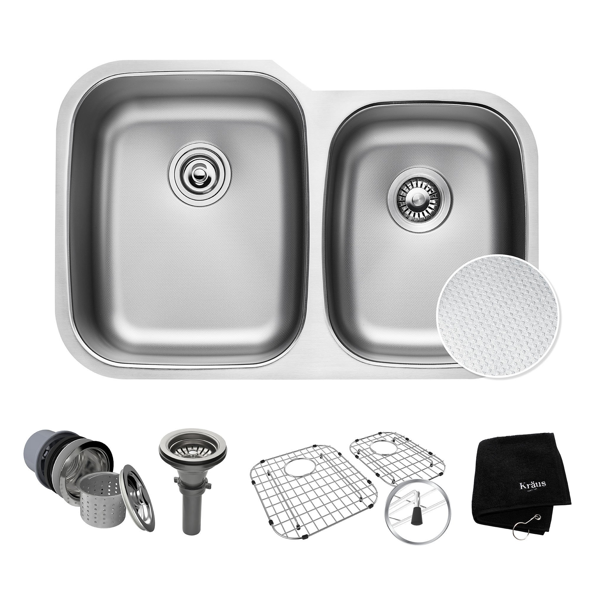 KRAUS Outlast MicroShield Scratch-Resist Stainless Steel Undermount 60/40 Double Bowl Sink, 32'' 16 Gauge, Premier Series KBU24E