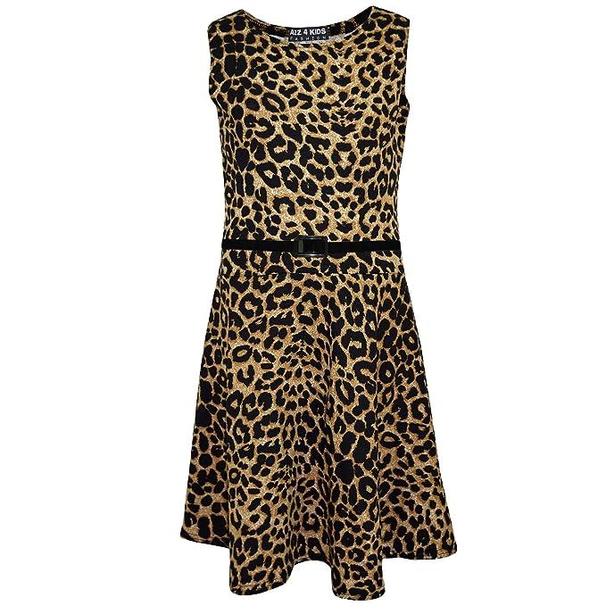 b416fe329e7a Kids Girls Skater Dress Leopard Print Summer Party Dance Sun Dresses 4-13  Years