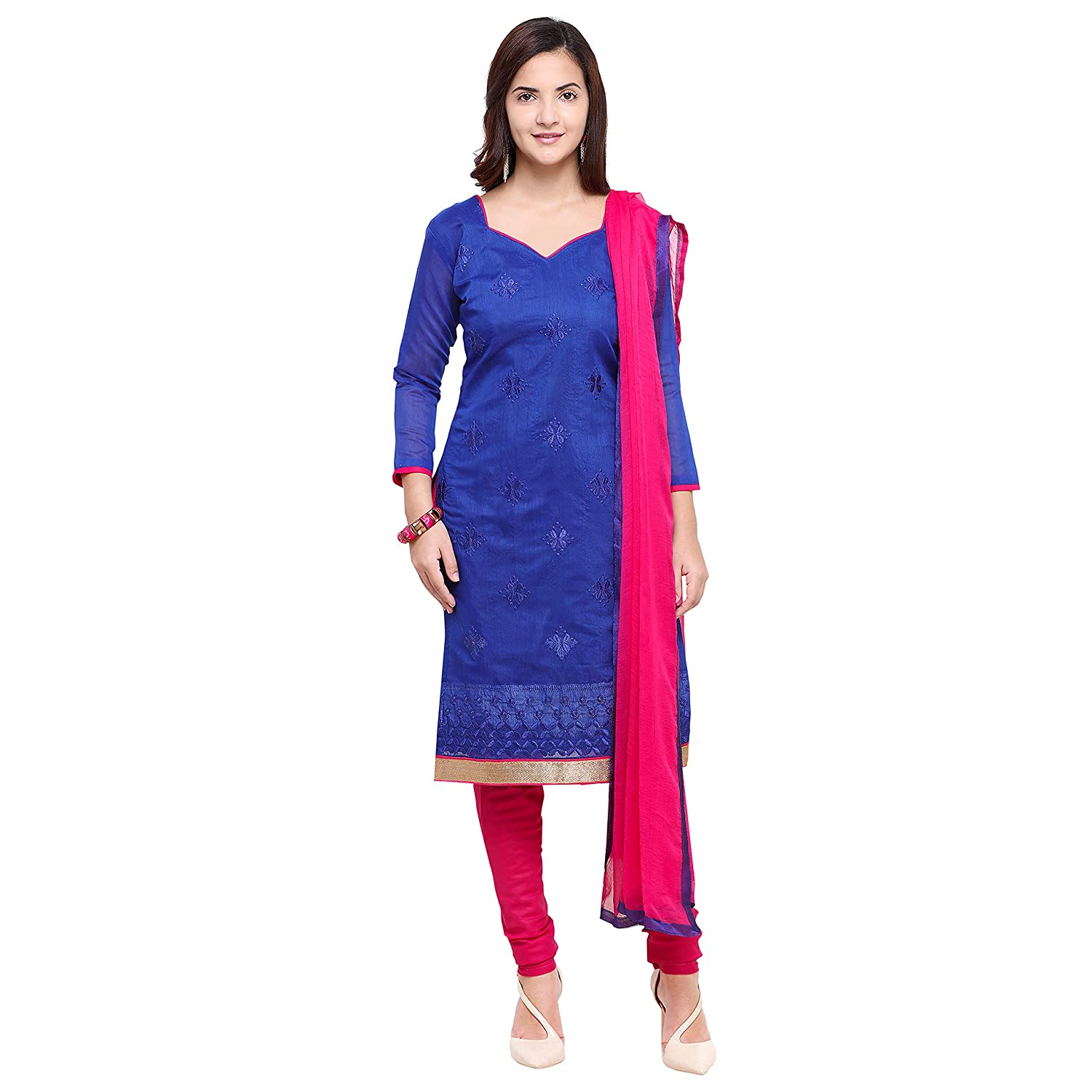 83db3239c3 Florence Women's Dress Material (SB-3475_Blue_One Size): Amazon.in:  Clothing & Accessories