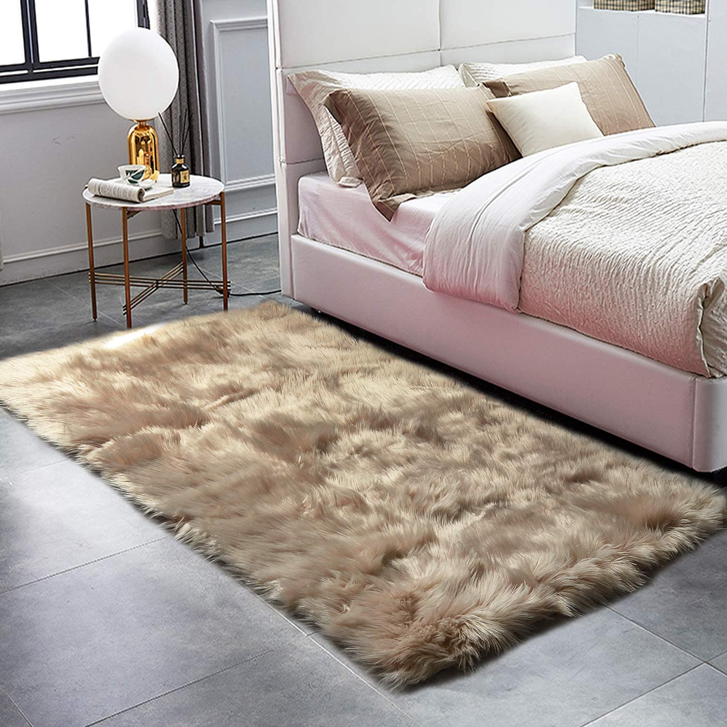 HAOCOO Faux Fur Sheepskin Rug Coffee Shag Chair Coach Covers 4'x 5.3' Fluffy Wool Area Rug Large Soft Kids Play Mat Rectangle Floor Carpet for Bedroom Living Room Bedside Nursery Home Decor