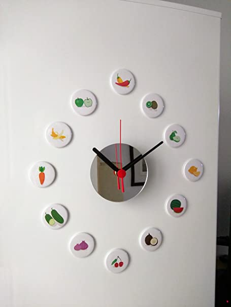 Reloj iman para nevera 12 imágenes de frutas y verduras con espejo ...