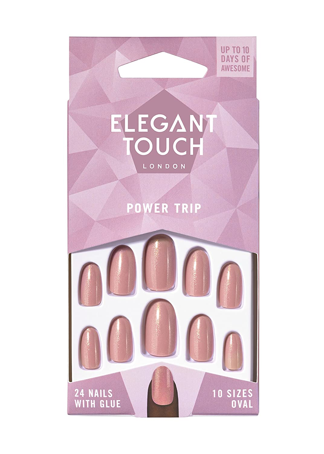 Elegant Touch - Colour Nails - Power Trip - Shimmer Dusky Rose - Oval Shape Original Additions 4012095