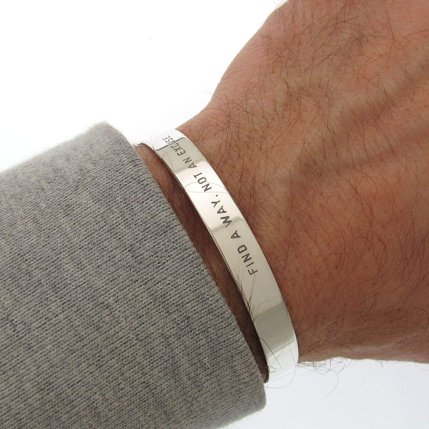 For Boyfriend Mens Leather Bracelet Cuff For Husband Gift for Men For Men Boyfriend Gift Silver Valentines Gift For Him Mens Gift