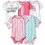 PUMA Baby Girls Five Pack Bodysuit Set, Pink Glow, 6-9M