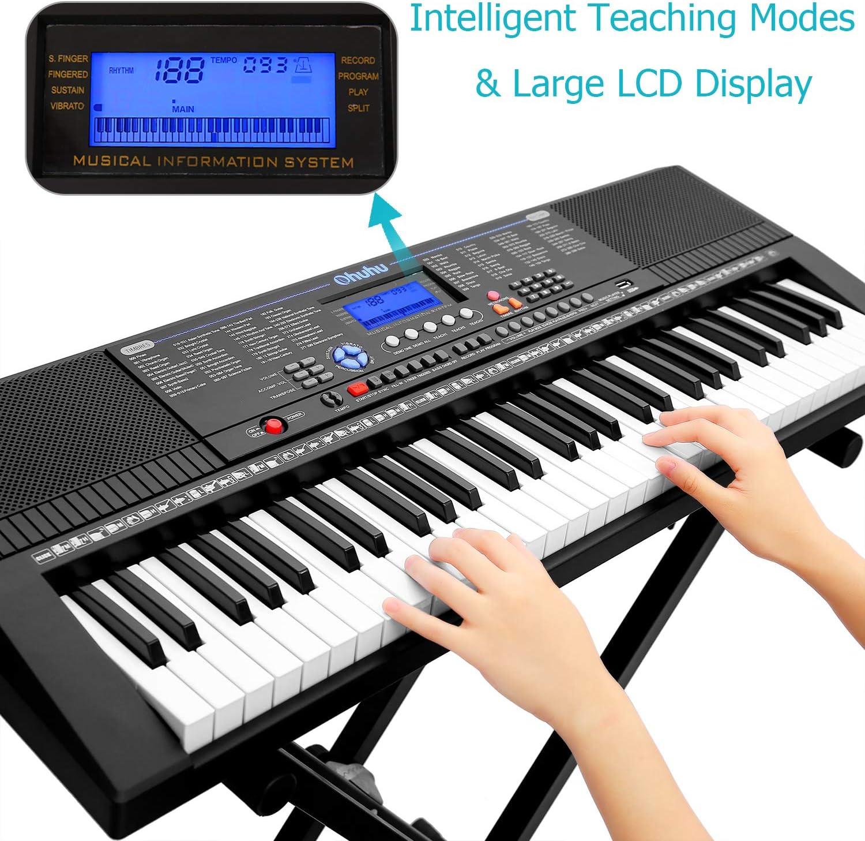 Teclado eléctrico Piano 61-Key, teclado digital de piano musical Ohuhu con conector para auriculares, puerto USB y modos de enseñanza para ...