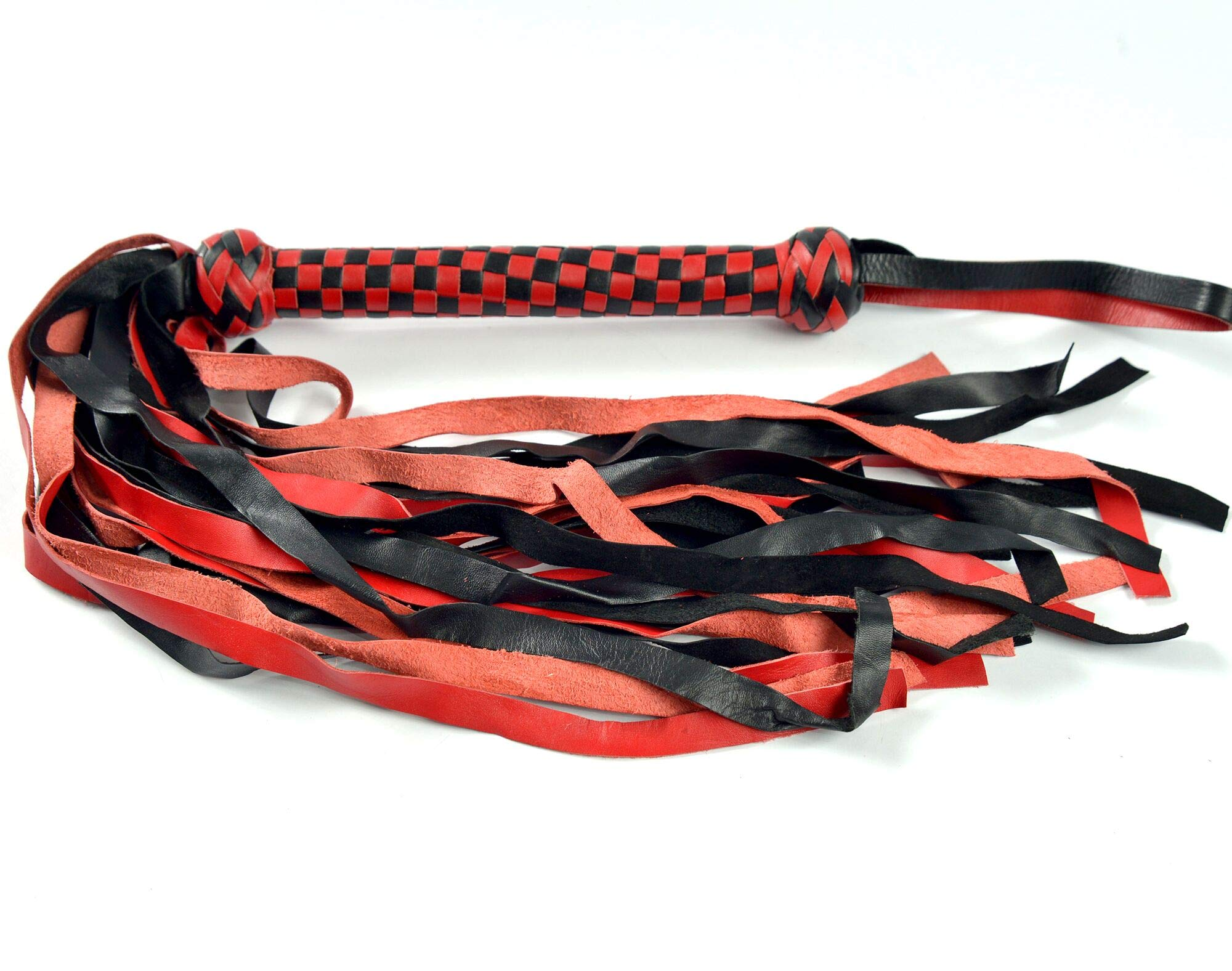 BARE SUTRA Black & Red Braided Flogger | Inside Wood 25 Tails 18'' Long & 2cm Wide | 9'' Long Leather Braided Sturdy Handle & Knob | Handmade Genuine Cowhide Leather Whip | Loop for Hang |29'' Long 300G by BARE SUTRA