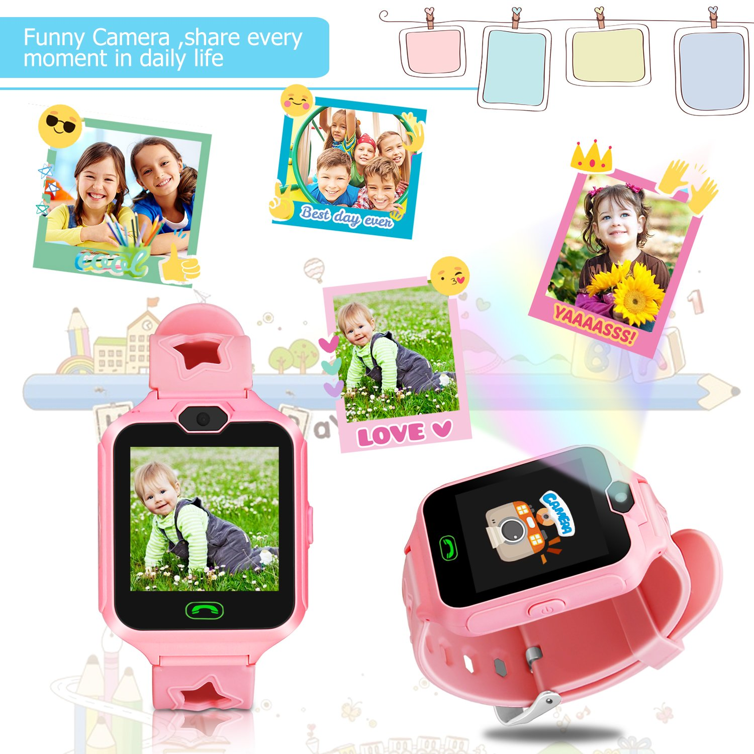 Kids Smart Watch Phone,Unlocked Waterproof Smart Phone Watch for Girls Boys with Camera Games Touchscreen,Children SOS Cell Phone Watch with SIM and SD Slot,Perfect Holiday Birthday Gifts(Pink) by MIMLI (Image #3)
