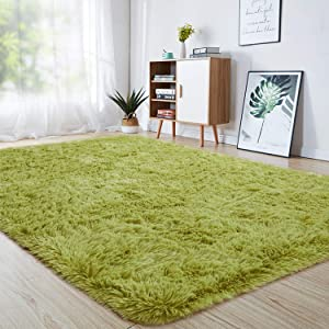 junovo Ultra Soft Area Rugs 6 x 9ft Fluffy Carpets for Bedroom Kids Girls Boys Baby Living Room Shaggy Floor Nursery Rug Home Decor Mats, Green