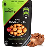 Raw Hazelnuts Filberts with Skin, No Shell (16oz - 1 Pound) Packed Fresh in Resealble Bag - Nut Trail Mix Snack…