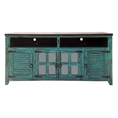 Hiend 60 Inch Rustic Western Turquoise Antique Distressed Reclaimed Wood Look TV Stand Solid Wood Already Assembled (60 inch Turquoise)