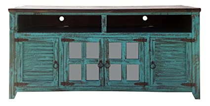 RUSTIC FOR LESS Hiend 60 Inch Rustic Western Turquoise Antique Distressed  Reclaimed Wood Look TV Stand - Amazon.com: RUSTIC FOR LESS Hiend 60 Inch Rustic Western Turquoise