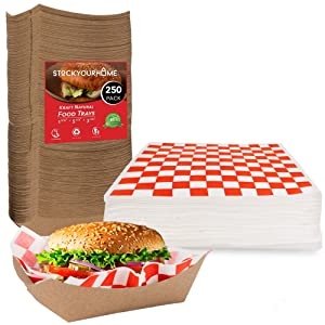 12-Inch Wax Paper Deli Sheets (500 Count) & 3-Lb Kraft Paper Food Boats (250 Count) - Grease Resistant Basket Liners & Food Trays - Perfect for Concession Stand, Carnival, Party, Fast Food, Cheese