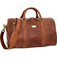 Leather Sports Holdall Small Barrel Shape Duffle Cross Body Bag Athens Cognac