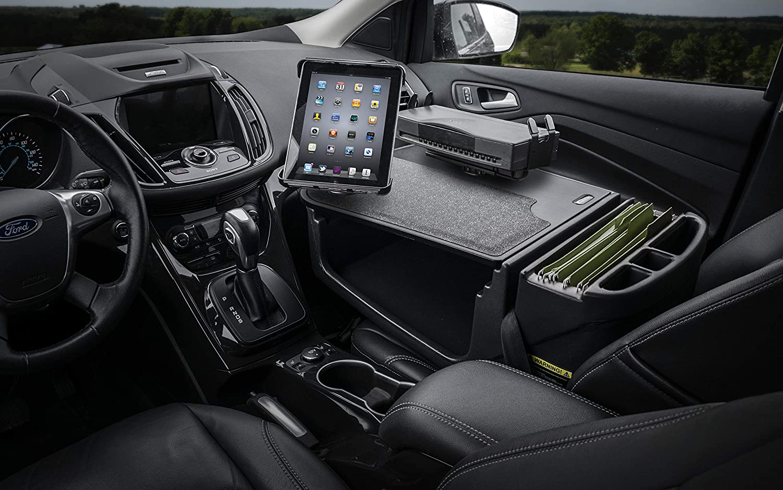 AutoExec AUE00084 Efficiency GripMaster Car Desk Black with Built-in Power Inverter