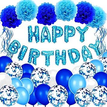Globo De Cumpleaños Chico Azul, Aivatoba Feliz cumpleaños globo Numeros Bandera,Globo azul, globos de confeti, pompones azules para suministros de decoración de fiesta de feliz cumpleaños: Amazon.es: Juguetes y juegos