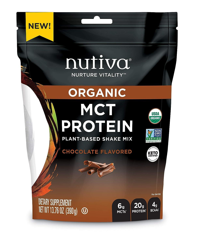 Nutiva Organic MCT Protein Plant-Based Shake Mix, Chocolate, 13.76 Ounce   USDA Organic, Non-GMO, Non-BPA   Vegan, Gluten-Free, Keto & Paleo   6g MCTs & 20g Clean Protein
