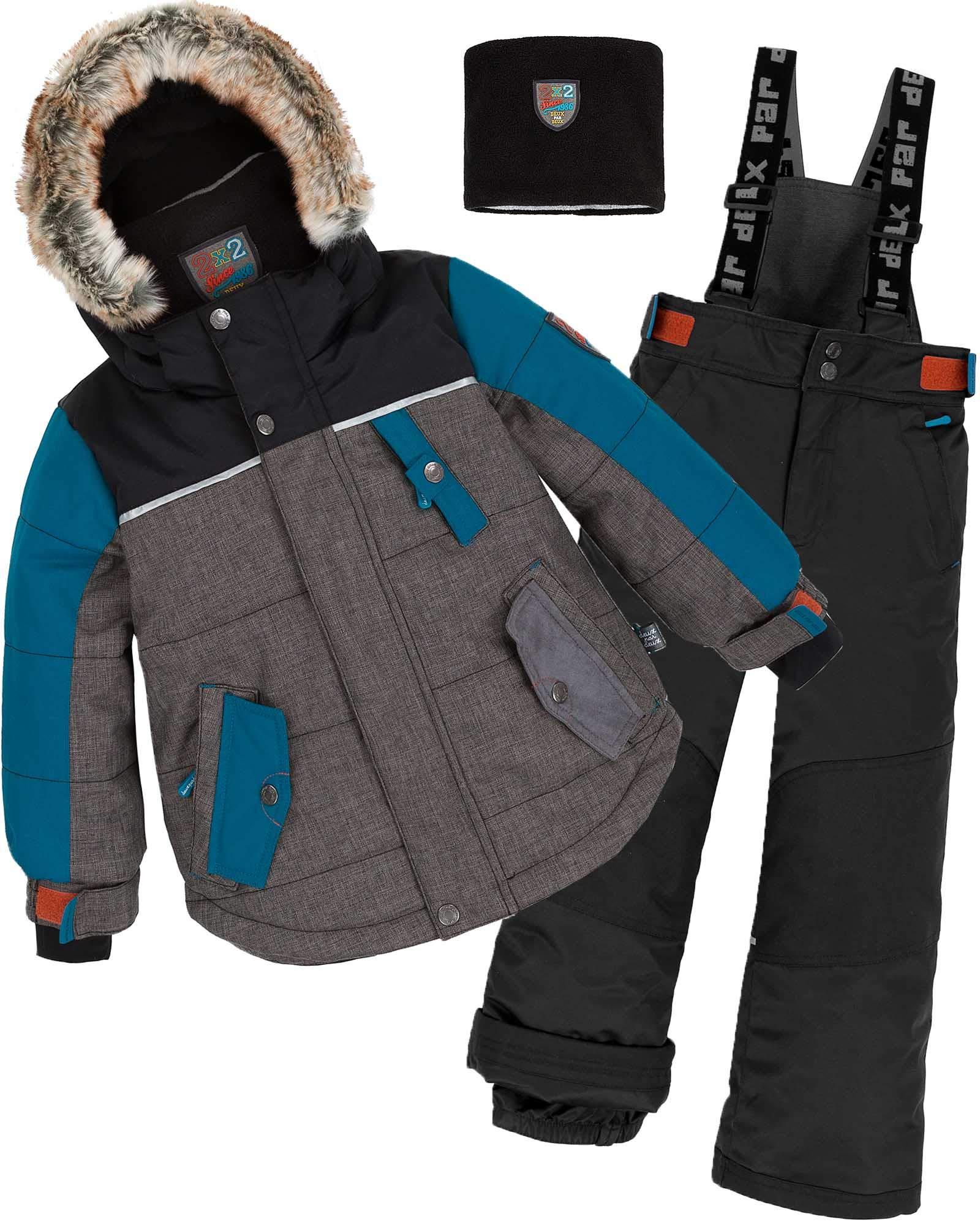 Deux par Deux Boys' 2-Piece Snowsuit Back to Cool Black, Sizes 5-14 - 7