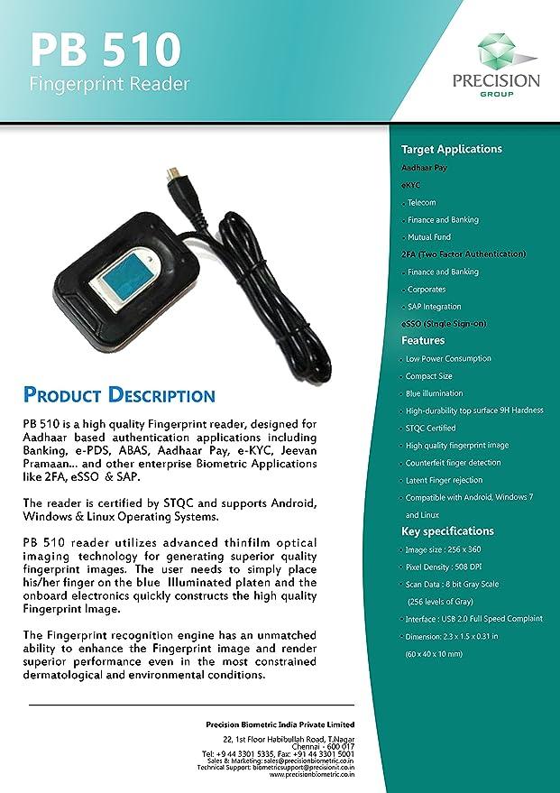 Precision PB510 USB Fingerprint Reader Amazonin Electronics