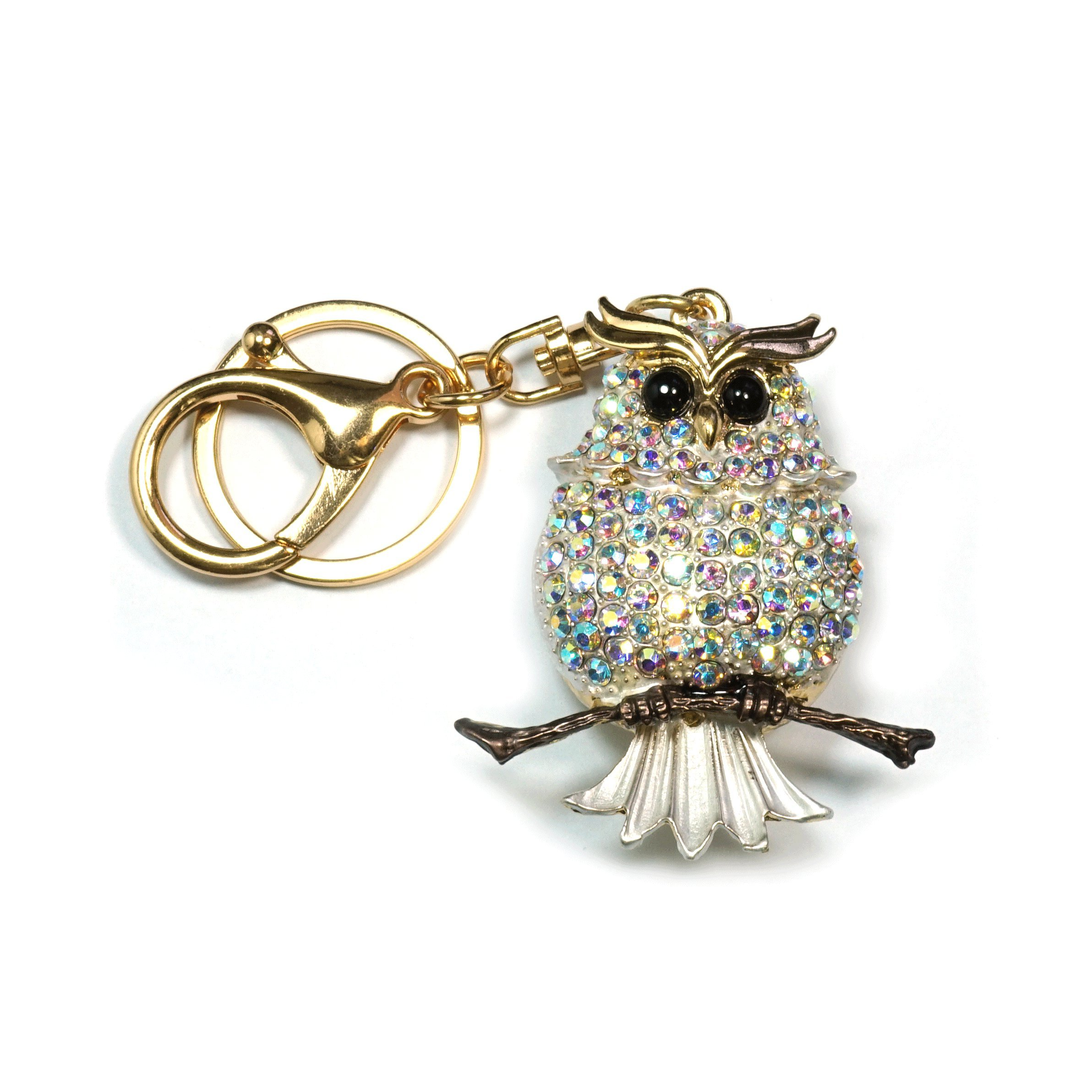 Teri's Boutique Super Cute Owl Bird Rhinestone Women Kids Fashion Keychains (White)