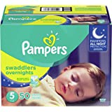 Pampers Swaddlers Overnights Disposable Baby Diapers Size 5, 50 Count, SUPER