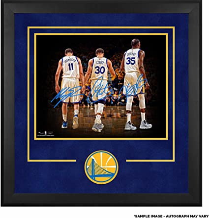 """f0505330 Stephen Curry, Klay Thompson, Kevin Durant Golden State Warriors Deluxe  Framed Autographed 16"""""""