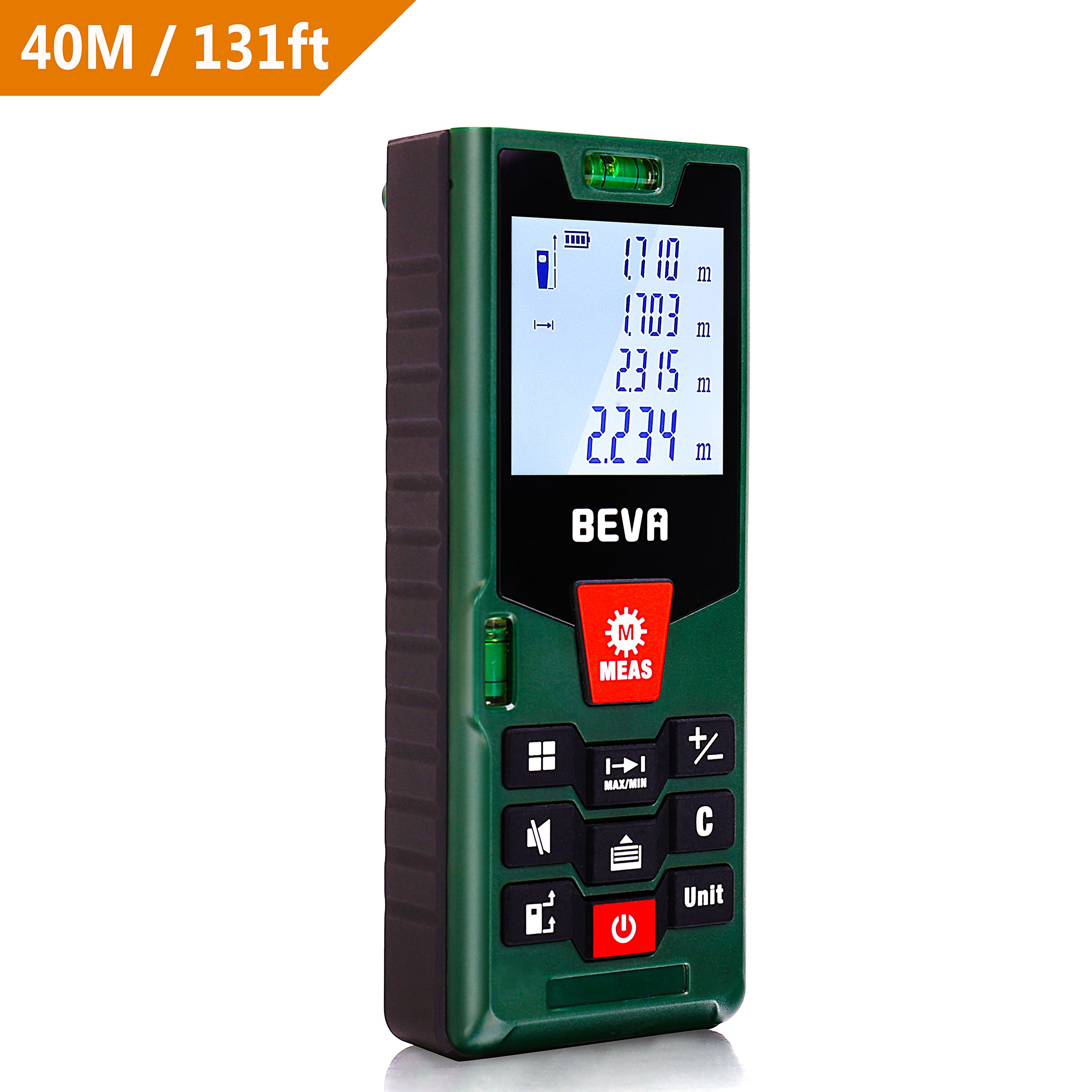 BEVA Laser Measure 131Ft M/In/Ft Digital Laser Tape measure with Mute Function Laser Measuring Device with Pythagorean Mode, Measure Distance, Area, Volume Calculation