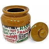 Ek Do Dhai Chutney Love Stoneware Jar with Lid, 300ml, Multicolour (Chut Love Jar 1)