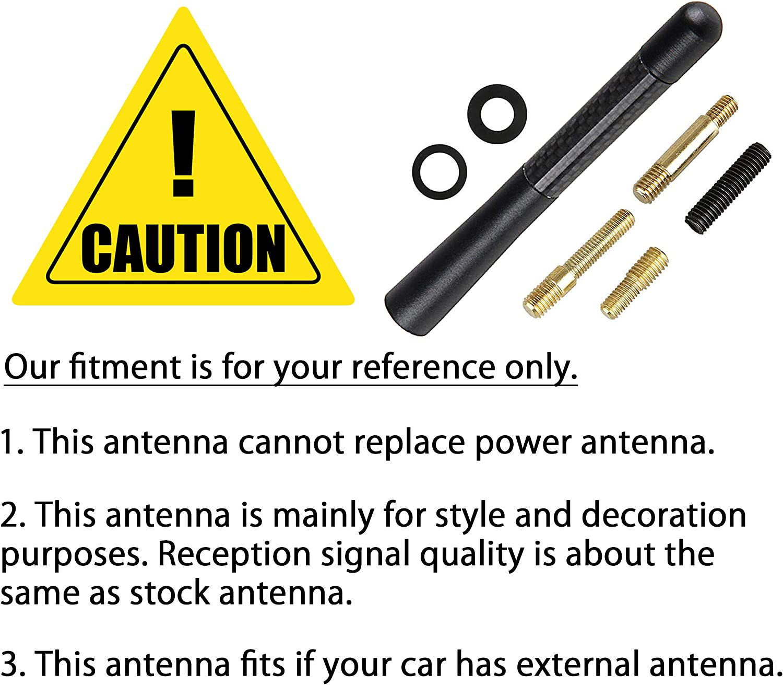CK Formula (1 pieza) antena corta AM/FM de 5 pulgadas / 127 mm 100% fibra de carbono pulido de aluminio negro tipo tornillo