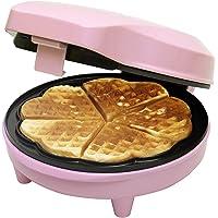 Bestron ASW217 wafelmaker, wafelijzer voor hartvormige wafels, antiaanbaklaag, 700W, 1-pak, roze