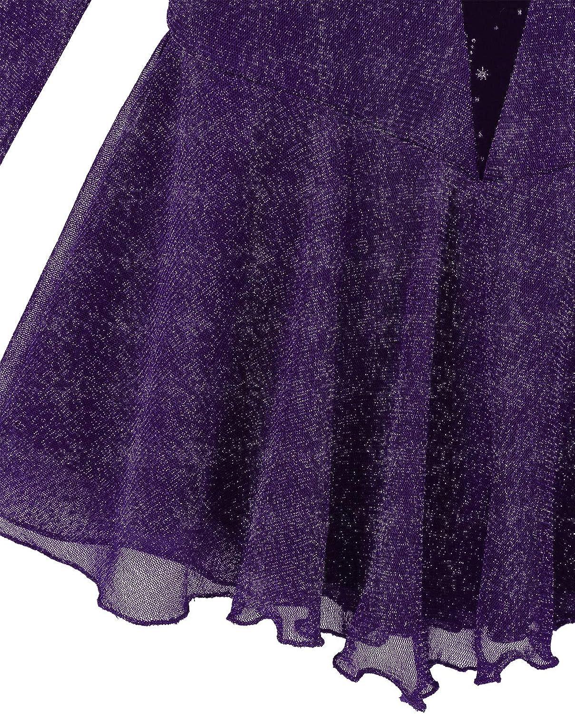 ranrann Enfant Fille Robe Patinage Artistique Strass Justaucorps Gymnastique Manche Longue Mock Neck Robe Danse Classique Body Ballet Brillant Costume Spectacle 4-12 Ans