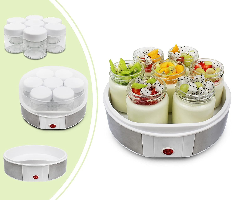 Leogreen - Yogurtiera, Macchina Per Yogurt, ciotola di yogurt con filtro e 6 vasetti, 30,6 x 25 x 12,4 cm, Bianco, capacità barattolo: 0,21 L, Capacità del contenitore: 1,5 L