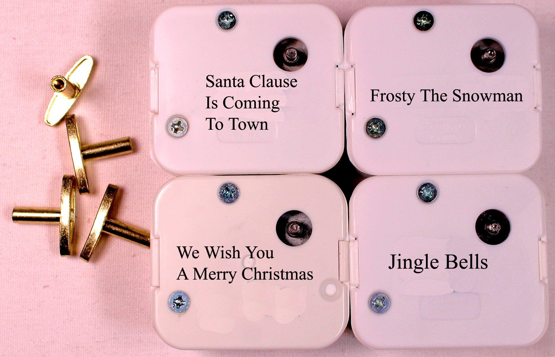 Creative Hobbies 4 Christmas Tunes Sankyo 18 Note Wind Up Music Box Musical Movements Winding Keys