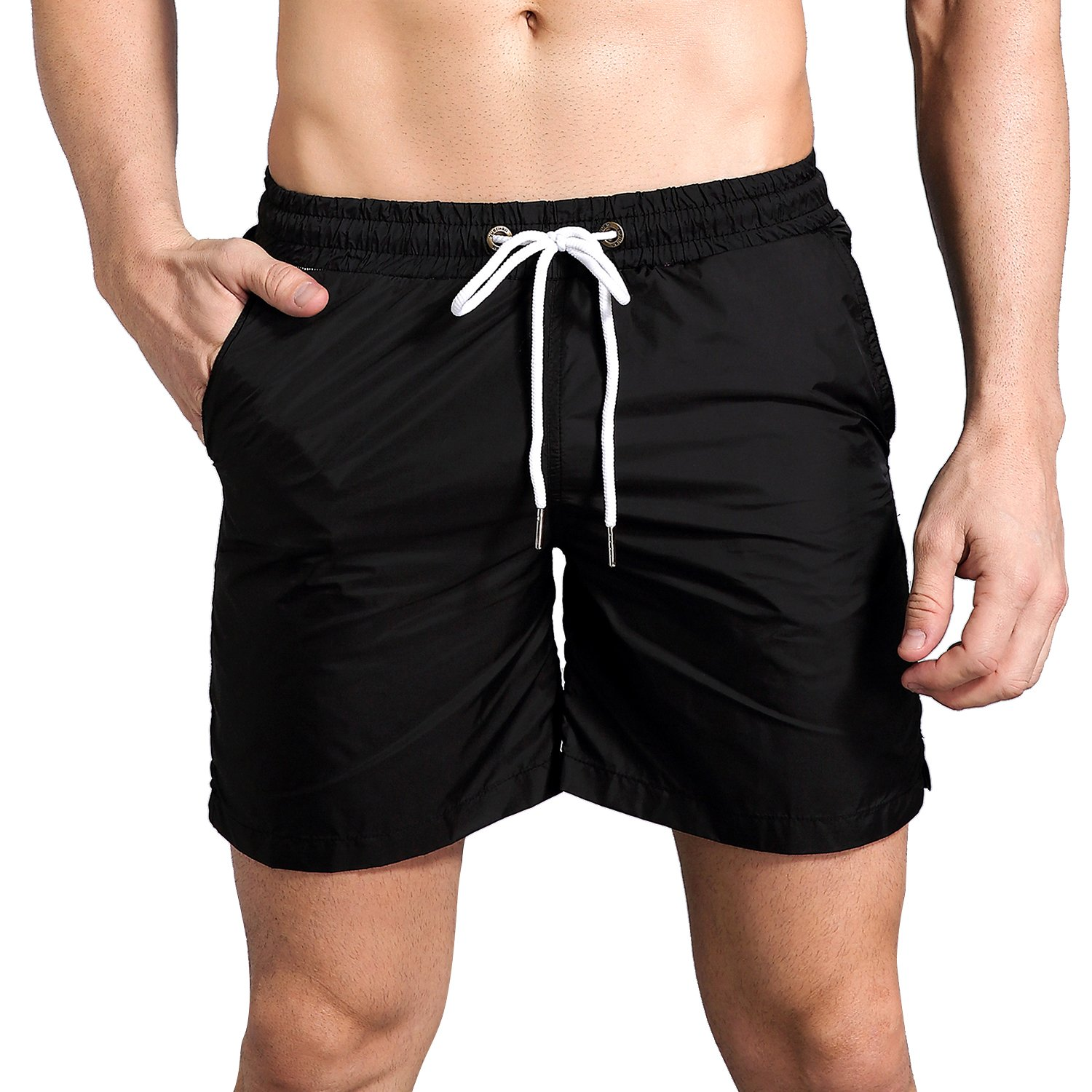 RoxZoom Men's Swim Trunks Quick Dry Board Shorts with Pockets, Casual Swim Shorts Beach Shorts with Mesh Lining for Men