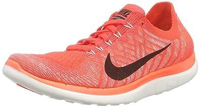 Nike Damen Free 4.0 Flyknit Laufschuhe, Orange (Leuchtendes Karmesinrot/ Hyper-Orange/