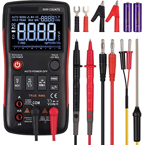 True RMS Digital Multimeter 9999 Counts Button Design Autoranging AC DC Current Voltage Meter 3-Line Display with Analog Bargraph Resistance Diode On-Off Test Frequency Capacitance Temperature NCV
