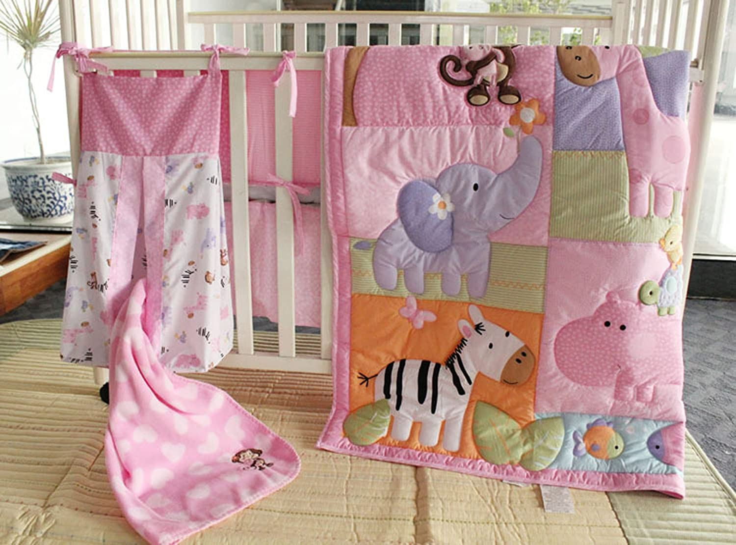 Zebra Animal Cartoon 7 Pcs Baby Bedding Set Baby Bedding Set Cartoon Baby Crib Set Quilt Bumper Sheet Skirt Mother & Kids